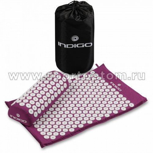 Коврик массажный с подушкой INDIGO IN186 67*42*2,5см, 38*15*10 см Фиолетовый