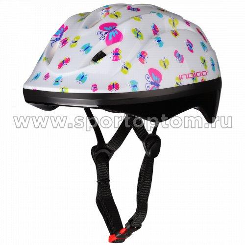 Шлем велосипедный детский INDIGO BUTTERFLY 8 вентиляционных отверстий IN071 Белый