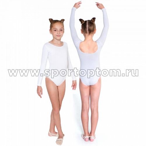 Купальник гимнастический  длинный  рукав  INDIGO х/б SM-093  26 Белый