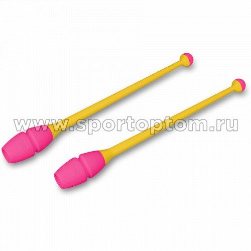 Булавы для художественной гимнастики вставляющиеся INDIGO IN019 45 см Желто-розовый
