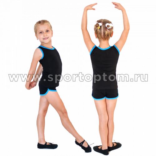 Шорты гимнастические  детские  INDIGO c окантовкой SM-218 Черно-бирюзовый