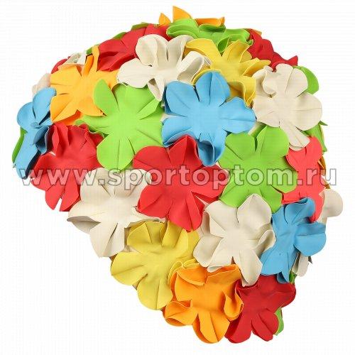 Шапочка для плавания INDIGO женская объемный рисунок Цветы  IN084 Мультицвет