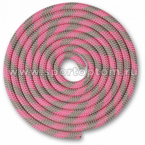 Скакалка для художественной гимнастики Утяжеленная 150 г INDIGO SM-359 2,5 м Серо-розовый