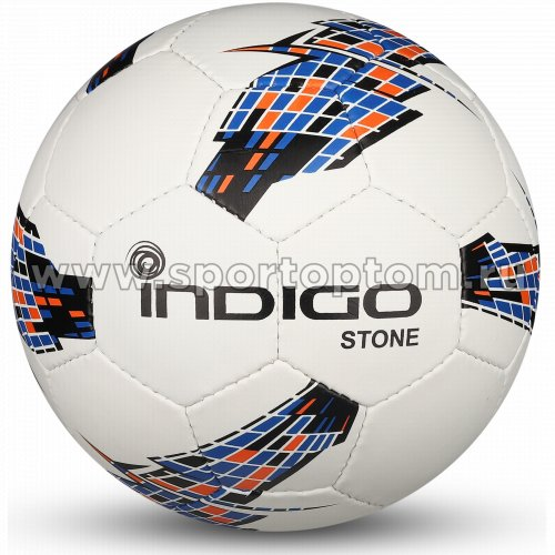 Мяч футбольный №5 INDIGO STONE Облегченный тренировочный (PU) IN028 Бело-черный