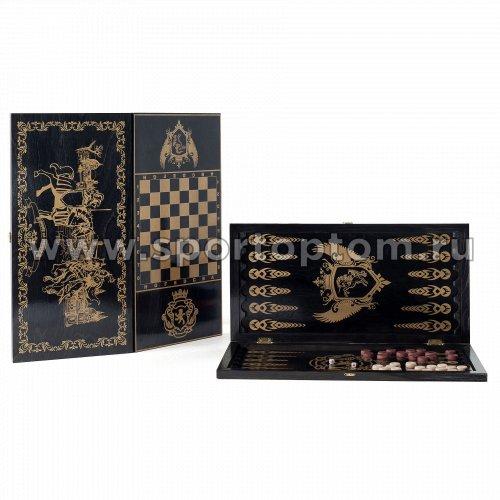Игра 2 в 1 деревянная Рыцари (нарды,шашки) 124-16 60*60 см Черный