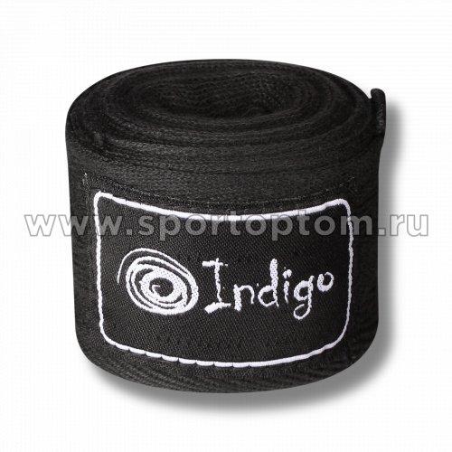 Бинт боксёрский INDIGO  х/б, нейлон  1115 4,0 м Черный