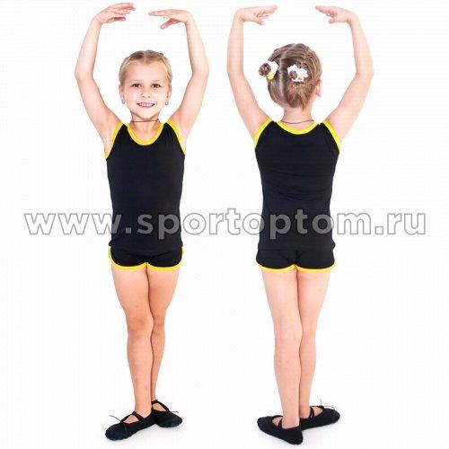 Майка гимнастическая  INDIGO с окантовкой SM-341 Черно-желтый