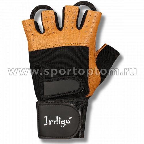 Перчатки для фитнеса  INDIGO с широким напульсником кожа,эластан SB-16-1073 Коричнево-черный