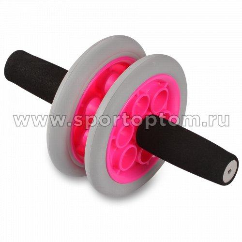 Ролик гимнастический 2 колеса INDIGO неопреновые ручки  SM-342 Серо-розовый