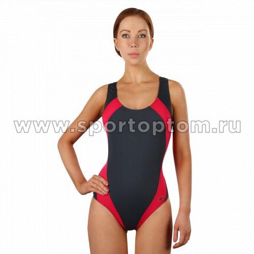 Купальник для плавания SHEPA совместный женский со вставками 009 Серо-цикламеновый