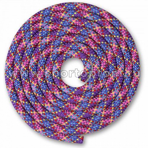Скакалка для художественной гимнастики Утяжеленная 180 г INDIGO SM-360 3 м Фиолетово-зелено-желто-красно-розово-голубо-синий