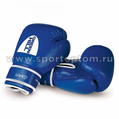 Перчатки боксёрские Green Hill HAMED и/кожа DX  BGH-2036 10 унций Синий