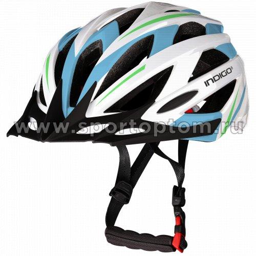 Шлем велосипедный взрослый INDIGO 21 вентиляционных отверстий IN069 55-61см Бело-Голубой