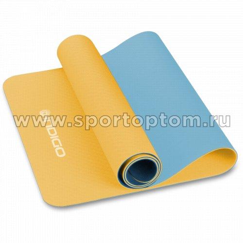 Коврик для йоги и фитнеса INDIGO TPE двусторонний  IN106 173*61*0,5 см Желто-голубой