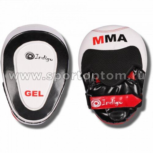 Лапа боксерская изогнутая INDIGO PU (пара)  250045 26*20*9 см Бело-черный