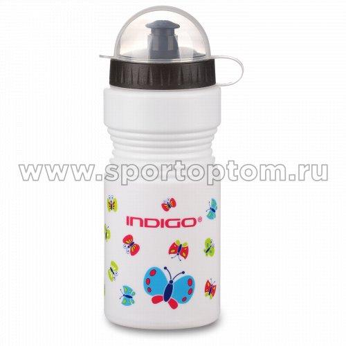 Вело Фляга детская INDIGO BUTTERFLY с защитой от пыли IN035 550 мл Белый