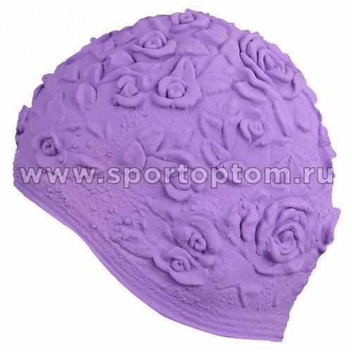 Шапочка для плавания INDIGO женская объемный рисунок Розы  IN083 Фиолетовый