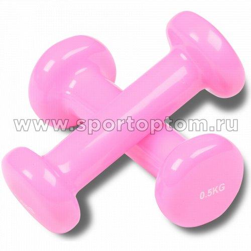Гантели обливные с виниловым покрытием INDIGO 92005 IR 0.5кг*2шт Розовый