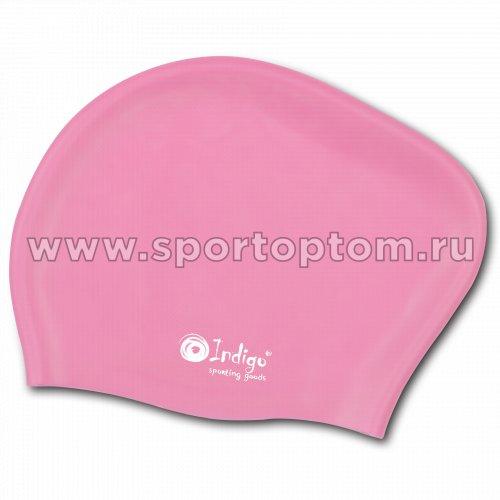 Шапочка для плавания силиконовая  длинные волосы INDIGO 805 SC Розовый