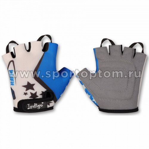 Перчатки вело детские INDIGO Звездочки SB-01-8803 Бело-Голубой