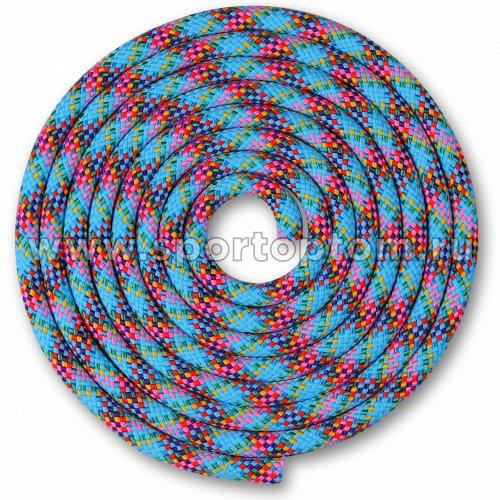 Скакалка для художественной гимнастики Утяжеленная 150 г INDIGO SM-359 2,5 м Голубо-зелено-желто-красно-фиолетово-сине-роз