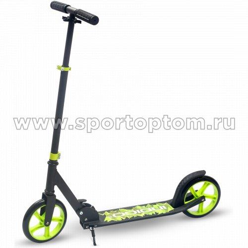 Самокат взрослый INDIGO VAMOS до 100 кг, колеса 200 мм IN054 Черно-зеленый