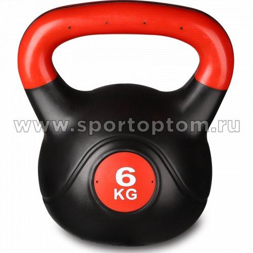 Гиря пластиковая INDIGO 6,0кг IN125 6 кг Черно-красный