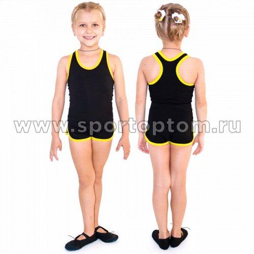 Шорты гимнастические  детские  INDIGO c окантовкой SM-343 Черно-желтый