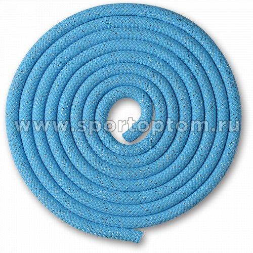 Скакалка для художественной гимнастики Утяжеленная 180 г INDIGO Люрекс SM-124 3 м Голубой-люрекс