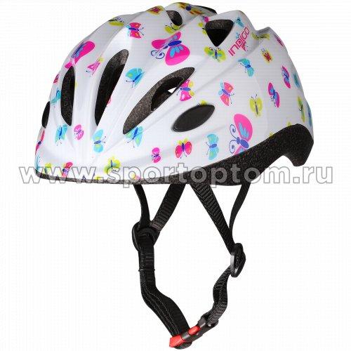 Шлем велосипедный детский INDIGO  BUTTERFLY 10 вентиляционных отверстий IN072 48-56см Белый