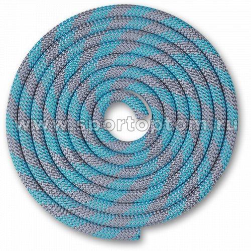 Скакалка для художественной гимнастики Утяжеленная 150 г INDIGO SM-359 2,5 м Серо-голубой