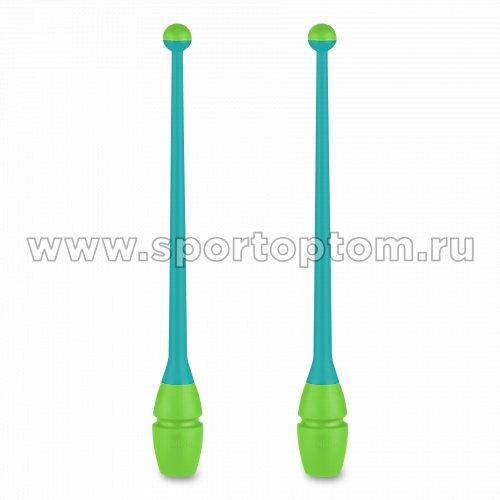 Булавы для художественной гимнастики вставляющиеся INDIGO (пластик,каучук) IN017 36 см Бирюзово-салатовый