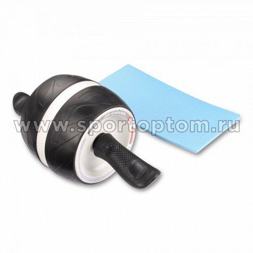 Ролик гимнастический 1 колесо INDIGO возвратный механизм с ковриком IN280 16*16 см Черно-серый