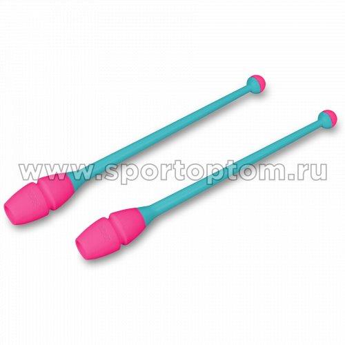 Булавы для художественной гимнастики вставляющиеся INDIGO IN017 36 см Бирюзово-розовый