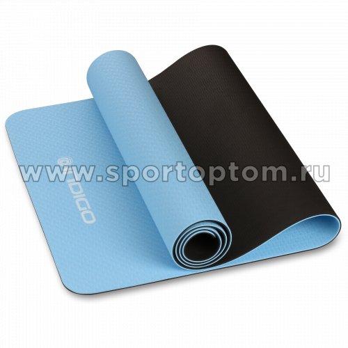Коврик для йоги и фитнеса INDIGO TPE двусторонний  IN106 173*61*0,5 см Голубо-черный