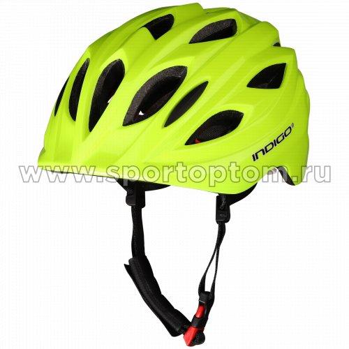 Шлем велосипедный детский INDIGO 16 вентиляционных отверстий IN073 51-55см Салатовый