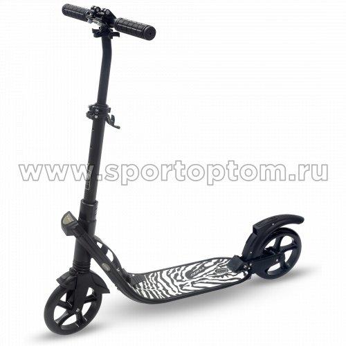 Самокат взрослый INDIGO COMFORT до 100 кг, колеса 200 мм IN053 Черный