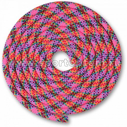 Скакалка для художественной гимнастики Утяжеленная 150 г INDIGO SM-359 2,5 м Розово-зелено-желто-красно-фиолетово-голубо-синий