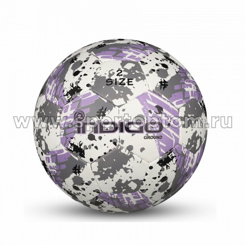 Мяч футбольный №2 INDIGO GROUND тренировочный (PU 1.2мм) Сувенирный IN030 Бело-серо-фиолетовый