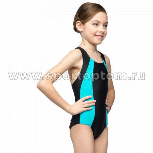 Купальник для плавания детский слитный  К 40-012-10 Черно-голубой