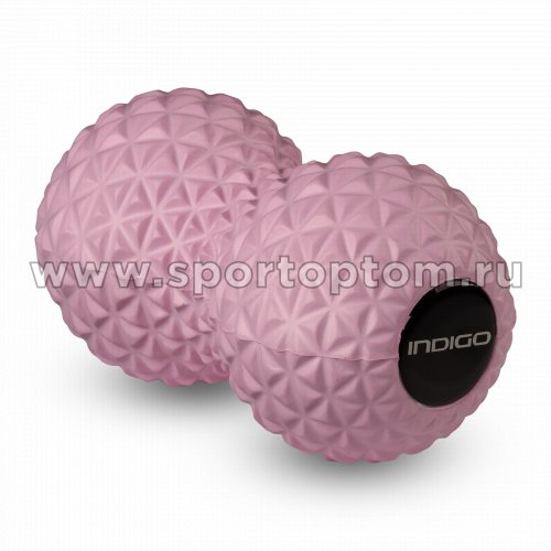 Мячик массажный двойной для йоги INDIGO IN277 17*8,5 см Розовый
