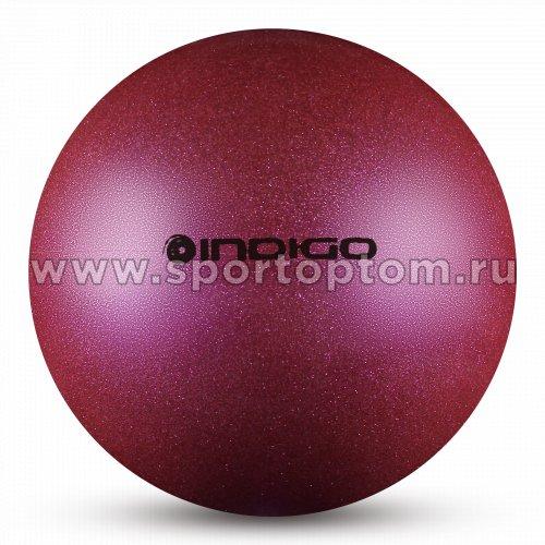 Мяч для художественной гимнастики INDIGO металлик 300 г IN119 15 см Фиолетовый с блестками