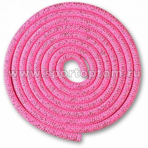 Скакалка для художественной гимнастики Утяжеленная 180 г INDIGO Люрекс SM-124 3 м Розовый-люрекс