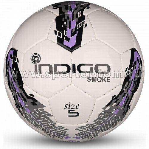 Мяч футбольный №5 INDIGO SMOKE тренировочный (PU SEMI) IN025 Бело-серо-фиолетовый