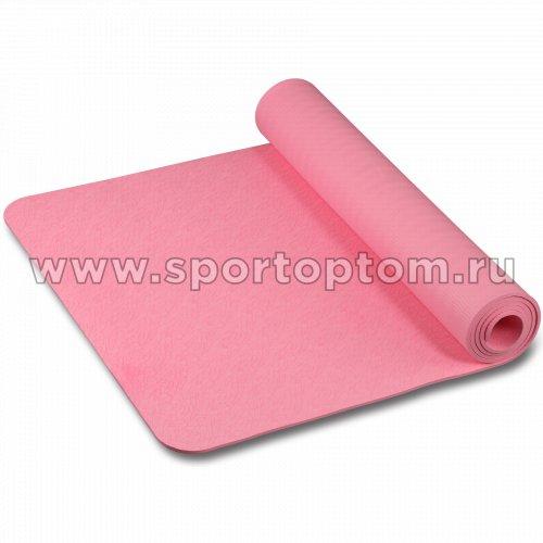Коврик для йоги и фитнеса INDIGO TPE с рисунком IN020 173*61*0,6 см Розовый