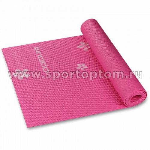Коврик для йоги и фитнеса INDIGO PVC с рисунком Цветы YG03P 173*61*0,3 см Цикламеновый