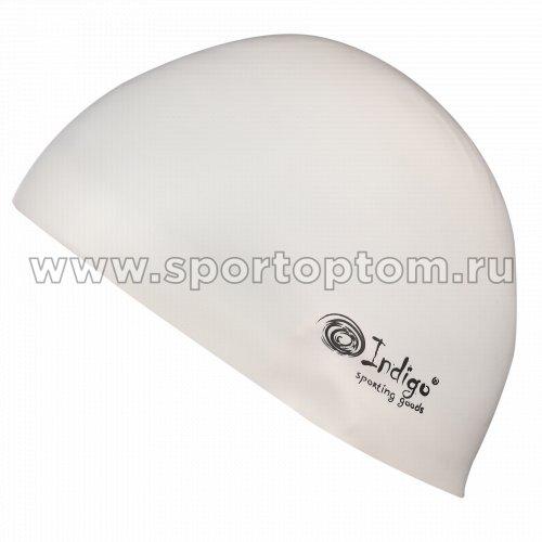 Шапочка для плавания силиконовая INDIGO Стартовая 3Dформа  IN085 Белый