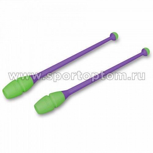 Булавы для художественной гимнастики вставляющиеся INDIGO IN018 41 см Фиолетово-салатовый