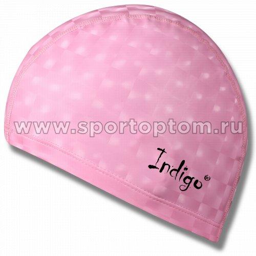 Шапочка для плавания  ткань прорезиненная с эффектом 3D INDIGO детская IN047 Розовый