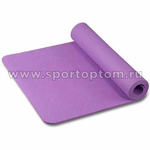 Коврик для йоги и фитнеса INDIGO TPE с рисунком IN020 173*61*0,6 см Фиолетовый